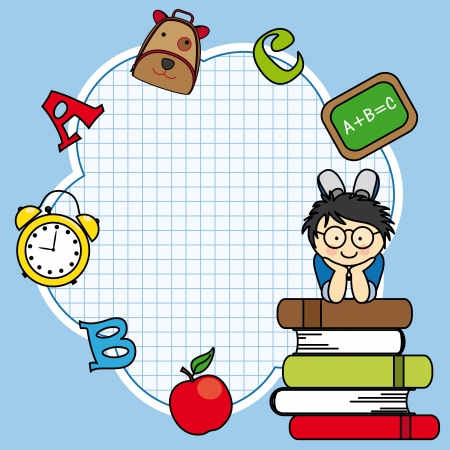 Education and school icon set. Space for text. Boy and books Vector