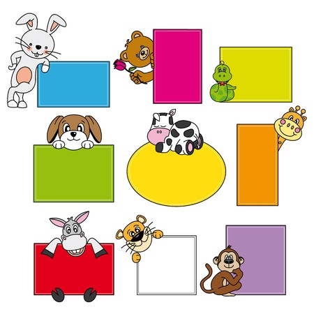 giraffe frame: animal stickers. Space for text Illustration