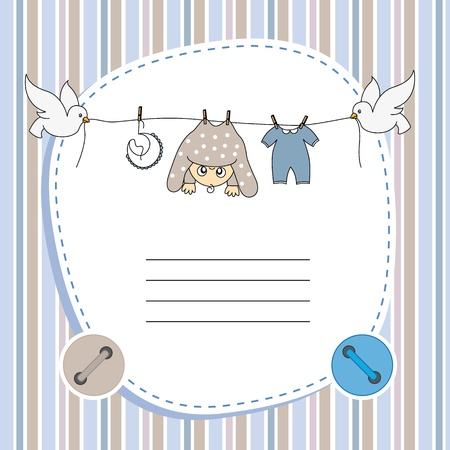 babies and children: Baby boy card. Space for text