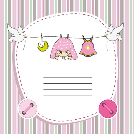 babies and children: Baby girl card. Space for  text Illustration