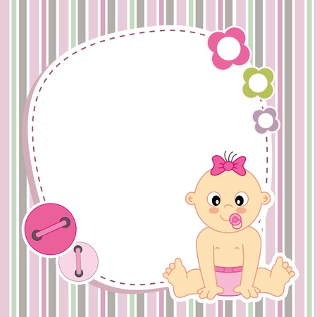 baby illustration: Baby girl card  Space for photo or text