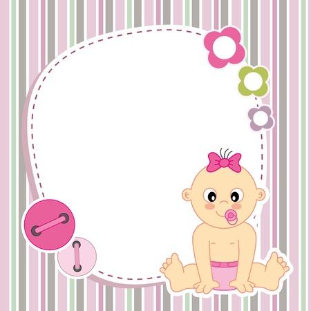 nacimiento bebe: La niña Espacio tarjeta para la foto o el texto Vectores