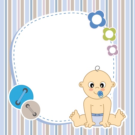 Baby boy card  Space for photo or text Stock Vector - 20044928