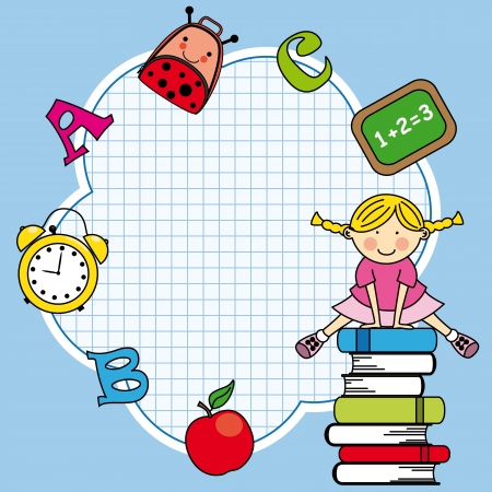 Education and school icon set. Space for text. Girl and books Vector
