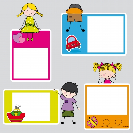 Children s picture frame for girl and boy  向量圖像