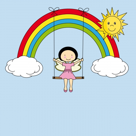 angel birthday: Fairy on a swing hanging from a rainbow