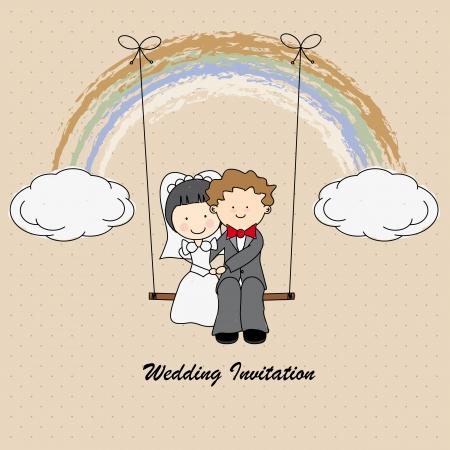 just: Boyfriends swinging on a rainbow  wedding invitation