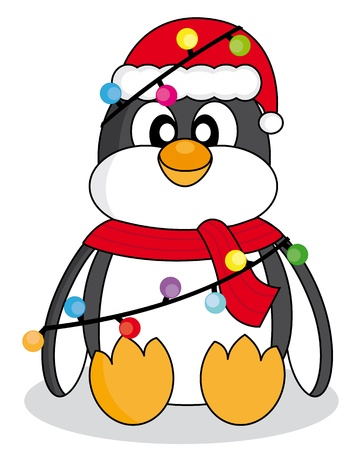 Penguin dressed as santa claus with christmas lights  Vector