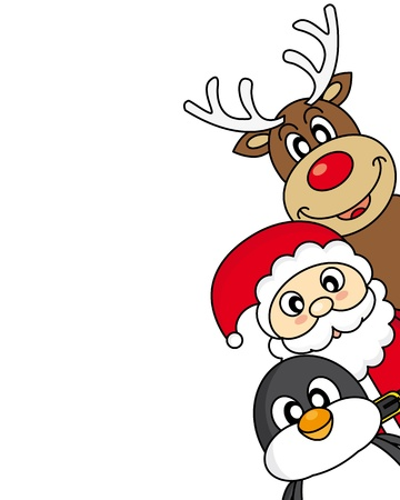 cartoon reindeer: vector xmas illustration of santa claus, reindeer and penguin