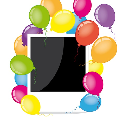 Photo frame with balloons  Vector