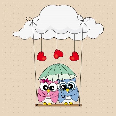 couple in rain: Valentine Card. Couple of owls in love