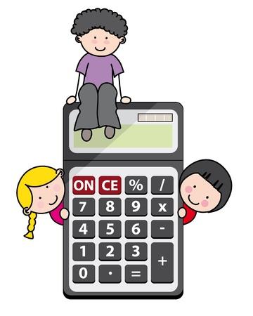 rekenmachine: Kinderen met een rekenmachine Stock Illustratie