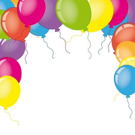 baby birthday: Card with balloons