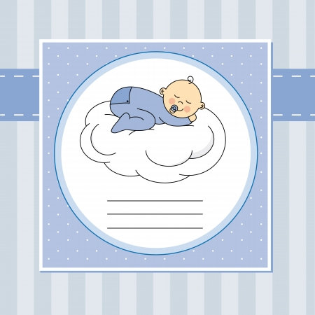 Baby boy arrival announcement card baby sleeping on the moon Vector