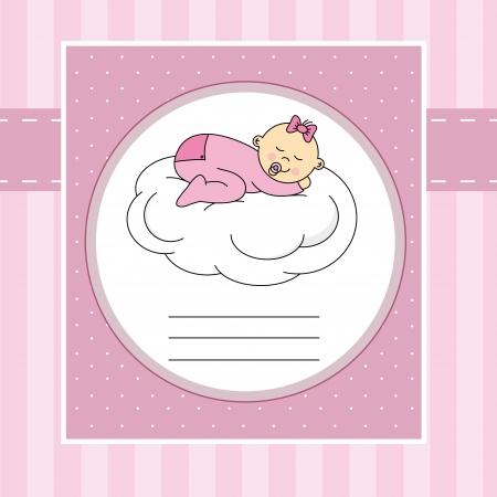 Arrivée de bébé carte d'annonce de bébé dormir sur un nuage Banque d'images - 20482252