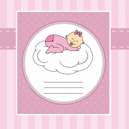 Baby girl arrival announcement card  Baby sleeping on a cloud