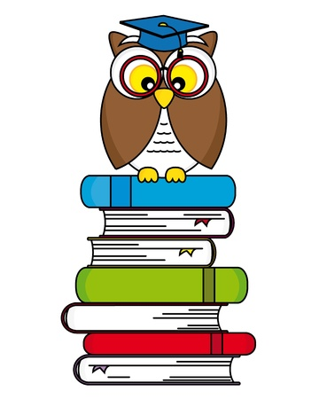 back to school  Owl with glasses and graduation cap Vector