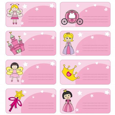 castillos de princesas: etiquetas princesas espacio para el texto Vectores