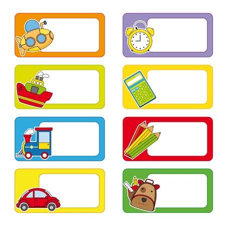 escuela caricatura: escuela Etiquetas de transporte y los objetos de la escuela