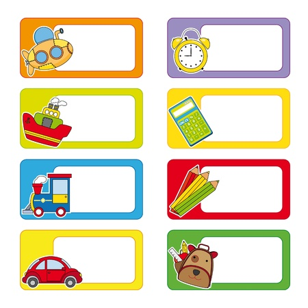 school labels  Stickers transport and objects for school  Vector