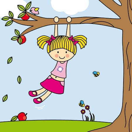 Girl playing on a tree swing Vector