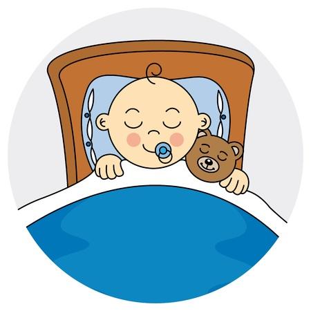 Kind schläft Baby Boy Ankunft Ankündigung Karte