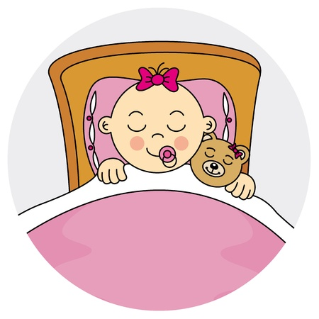 baby girl arrival: child sleeping Baby girl arrival announcement card Illustration