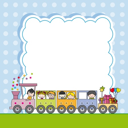 Train with children  framework  Stock Vector - 20841603