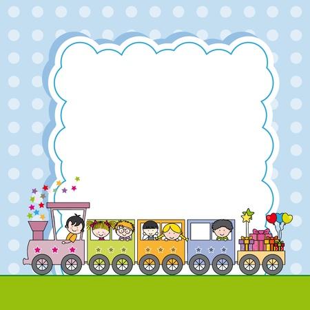 entrenar: Tren con marco hijos Vectores