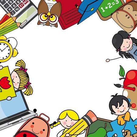 escuelas: Volver a Space tarjeta de la escuela para la foto o el texto Vectores
