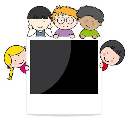 Cadre photo avec des enfants