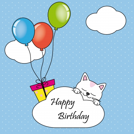 Cat sleeping on a cloud  Happy Birthday Card Vector