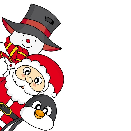 Christmas card  Santa, snowman and penguin