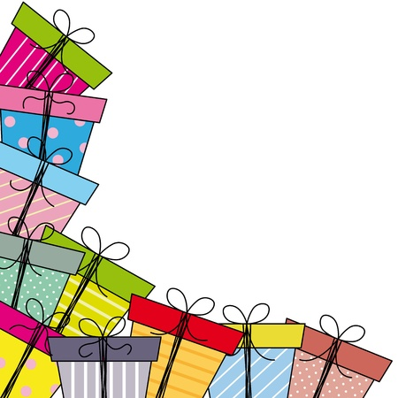 Greeting card  gift packages  Vector