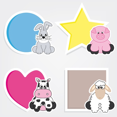 school frame: Vector set of animal stickers