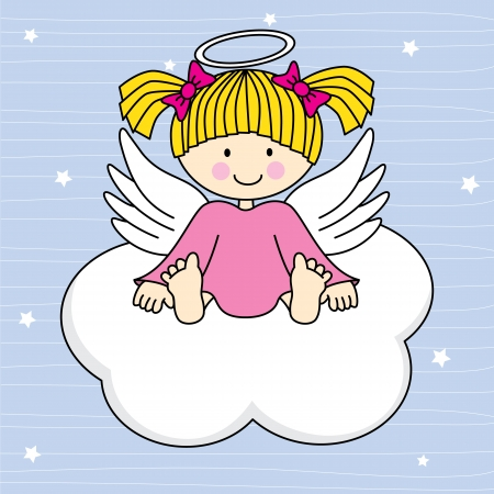 angel cartoon: Angel wings on a cloud  Greeting card Illustration