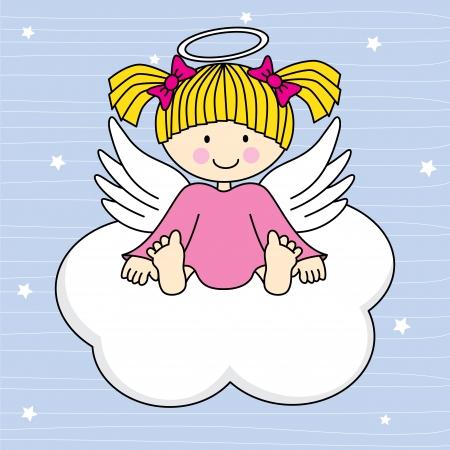 Engel vleugels op een wolk Wenskaart
