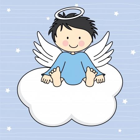 천국: 구름 인사말 카드에 천사 날개