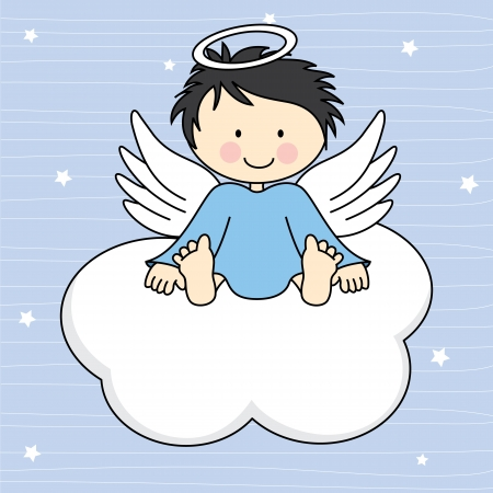 Angel wings on a cloud  Greeting card Illusztráció