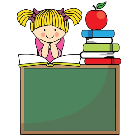 back to school  Girl on a blackboard with books and apple Vector