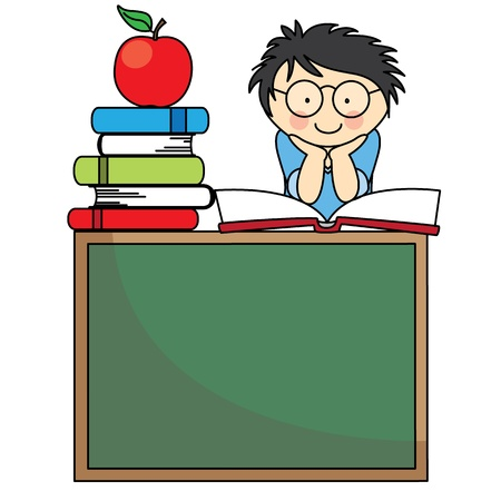 illustration of back to school  Boy on a blackboard with books and apple Vector