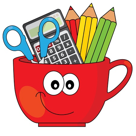 Pencil cup  With pencils, calculator and scissors Vector