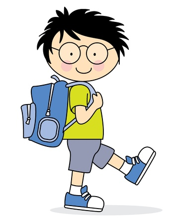 school backpack: Child who goes to school with a backpack