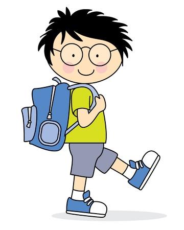 cartoon school: Kind, das zur Schule geht mit einem Rucksack