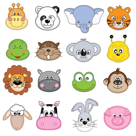 животные: Морды животных Иллюстрация