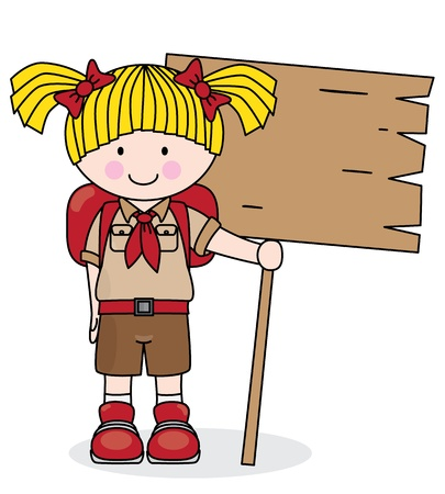 scouts: Girl scout holding a wooden board  Space for text