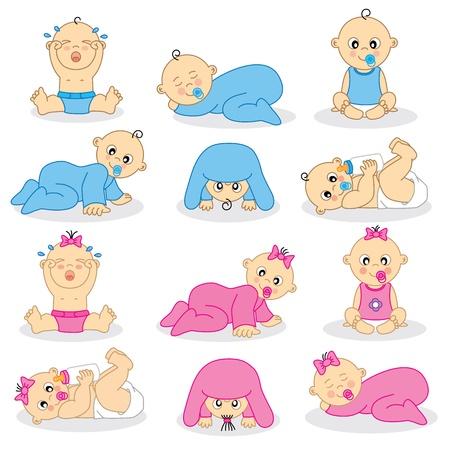 嬰兒: 插圖男嬰和女嬰 向量圖像