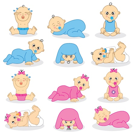 crying child: illustration of baby boys and baby girls