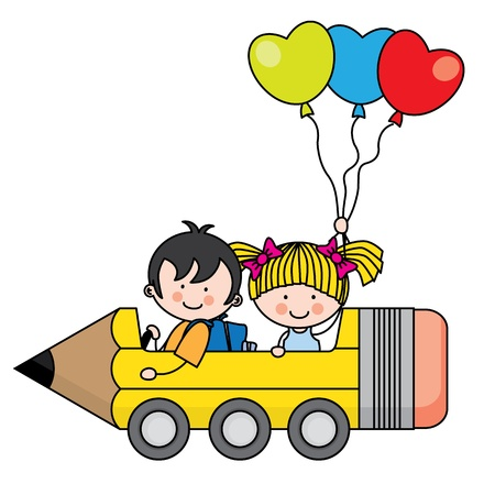 kids riding a pencil car Çizim