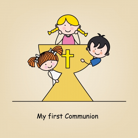 First communion card  Children in the holy grail  Vector